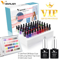 New Package of VENALISA VIP Kit 7.5ml Nail Gel Polish 60 Colors Gel Lacquer Fast Shipping Base Nowipe Top Coat Nail Gel Varnish