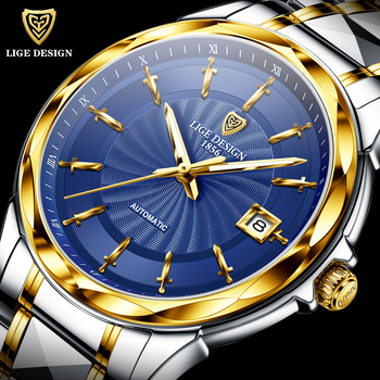 LIGE Original Brand Wrist Watches Mens Automatic Self-Wind Tungsten Steel Waterproof Business Mechanical Watch Relogio Masculino carvinal mens business tritium luminous waterproof steel watchband automatic self wind mechanical watch gold bezel black dial
