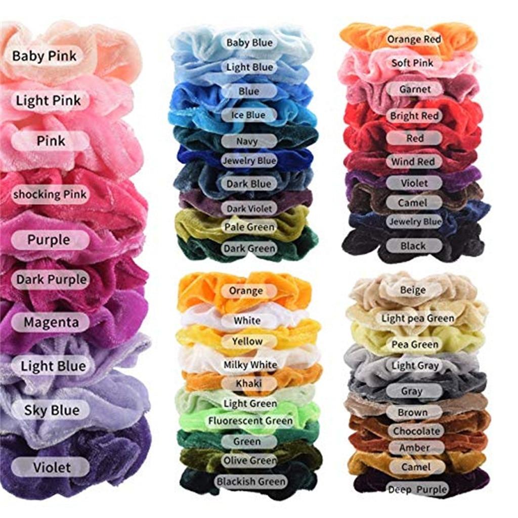 50 Pcs/Set Vintage Hair Scrunchies Velvet Scrunchie Pack Women Elastic Hair Bands Girl   Headwear   Solid Rubber Hair Ties YJJ1
