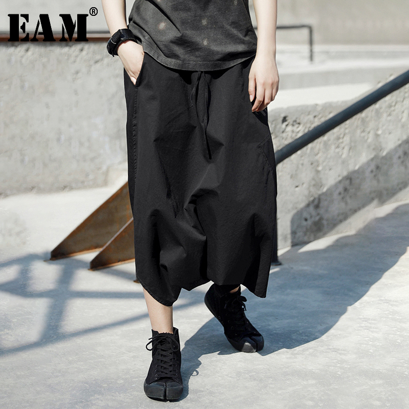 [EAM] 2020 New Autumn Winter High Elastic Waist Black Big Size Split Joint Loose Cross-pants Women Trousers Fashion Tide JT529