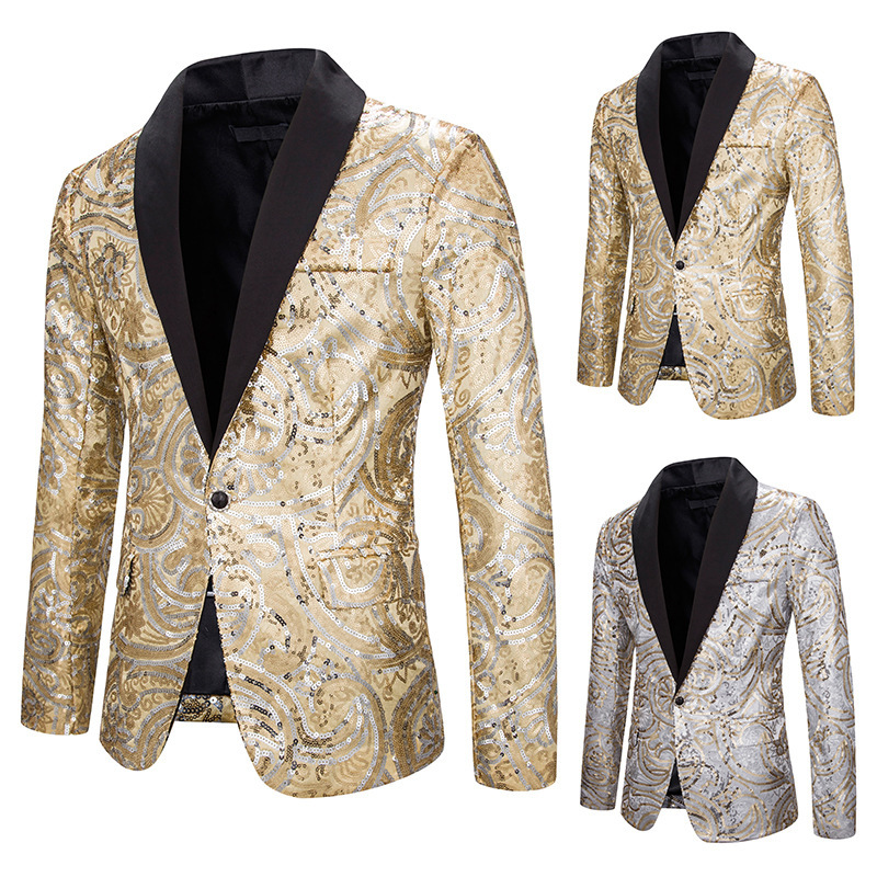 2019 Autumn And Winter New Style Sequin Performance Formal Dress Suit Nightclub Men'S Wear Host Master Of Ceremonies Coat Suit X