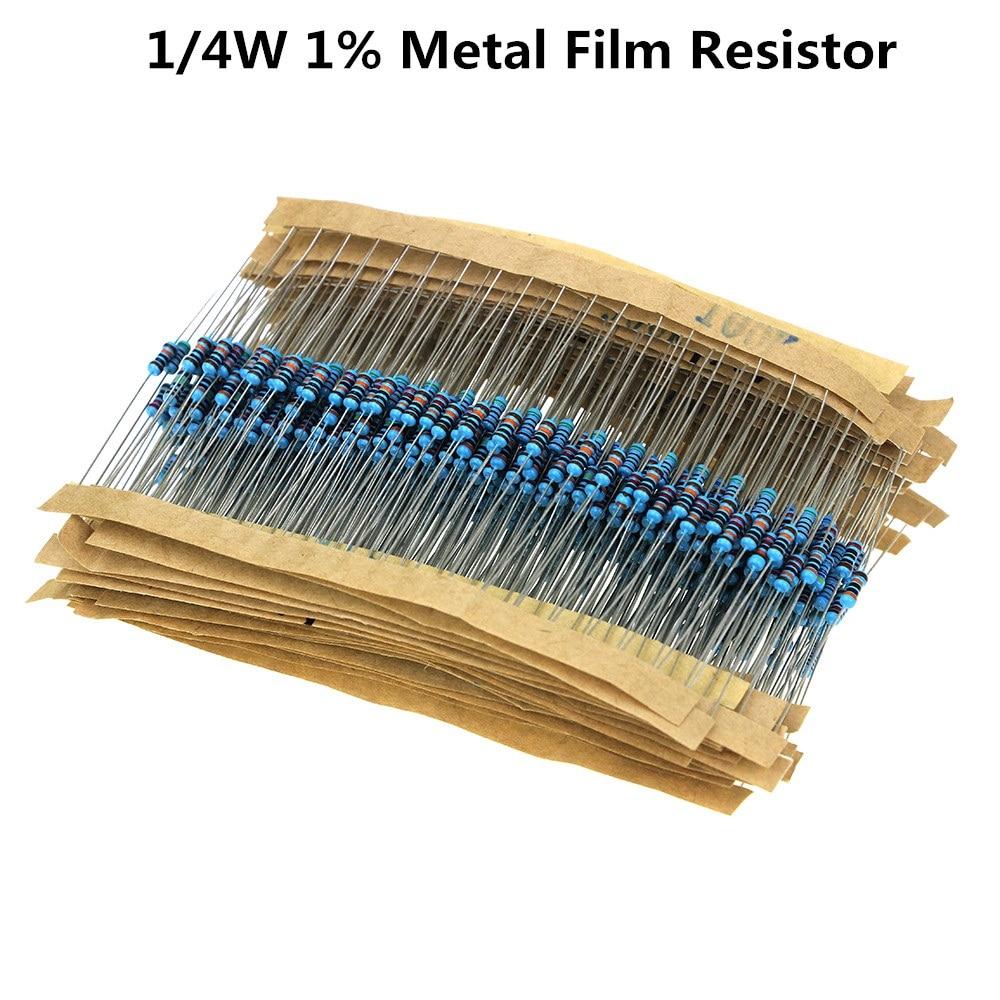 100pcs/lot 1/4W 0R~20M 1% Metal Film Resistor 100R 220R 1K 1.5K 2.2K 4.7K 10K 22K 47K 100K 100 220 1K5 2K2 4K7 Ohm