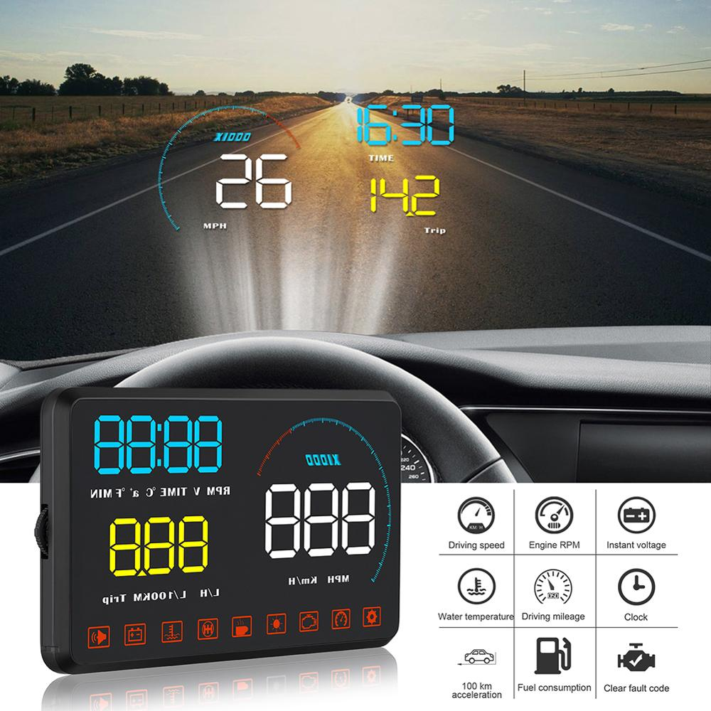 Car HUD Head-up Display OBD2 Fault Code Elimination Diagnostic Tool Projector Security Alarm Water Temp Overspeed RPM Voltage