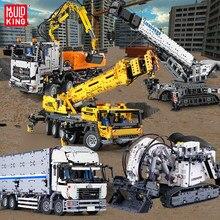 Molde rei aplicativo moc engenharia veículo tecnologia elétrica de controle remoto guindaste escavadeira montagem bloco de construção modelo brinquedos