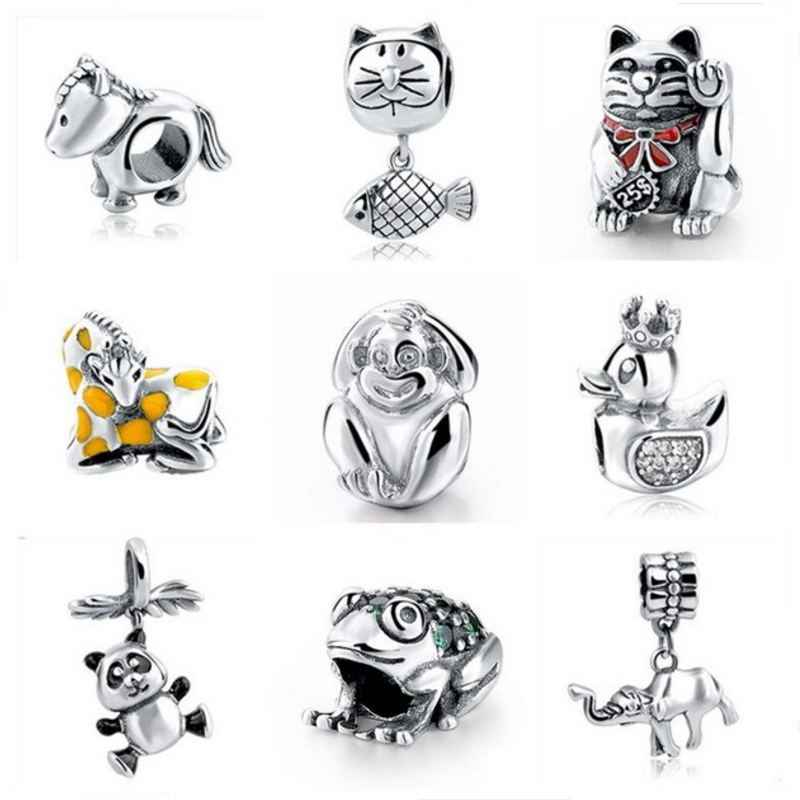 2017 New Authentic 925 Sterling Silver Originale Scimmia gatto Cavallo di Fascino Adatto Pandora Braccialetto di Fascino DIY Gioielli Per I Regali