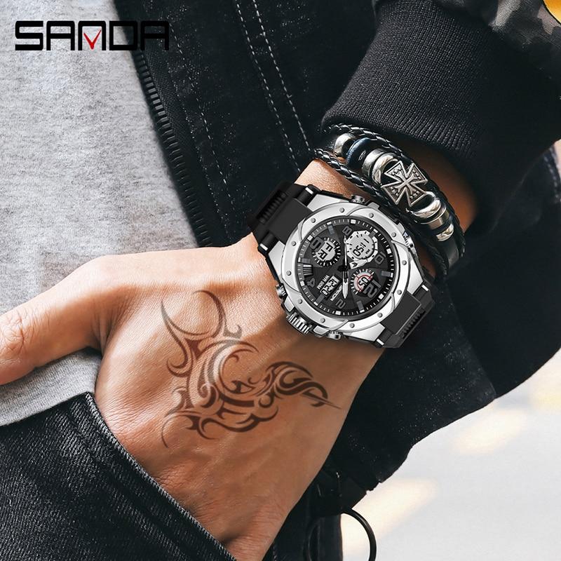 Sport hommes montre haut de gamme numérique pointeur horloge antichoc chronomètre rapport montres 50M étanche hommes montre SANDA heures temps 2