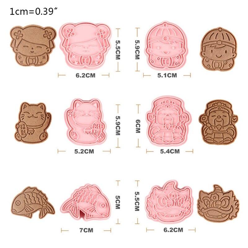 6 шт. Новогодняя Пластиковая форма для выпечки, кухонный резак для печенья, кондитерский Плунжер 87HA