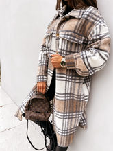 Spring Autumn Women's long Sleeve Plaid Print Coat Women Jacket Loose Turn Down Collar Single-Breasted Long Shirt Coat Femme