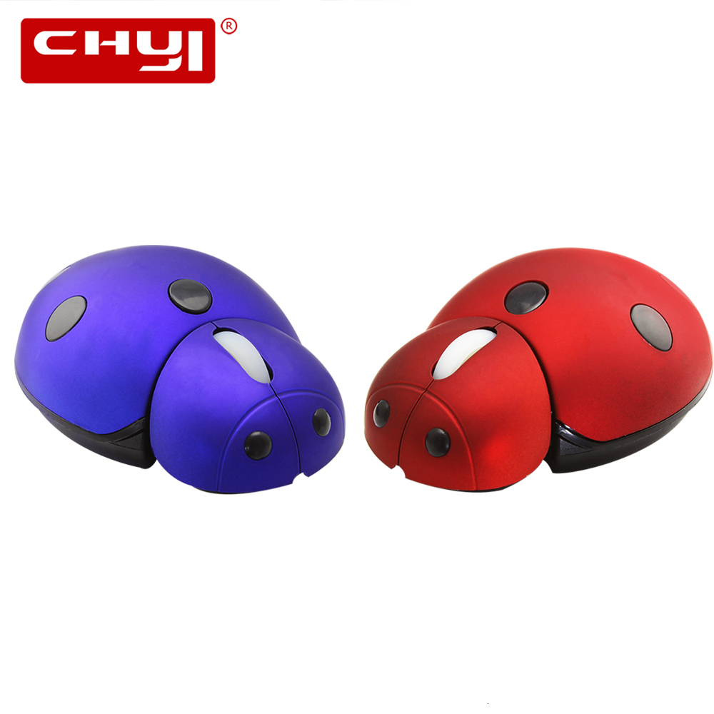 Cute Cartoon Ladybug Shape Mini Small Wireless Computer Mouse 3000 DPI Adjustable 3D USB Mouse Mice For Kids Children Laptop PC