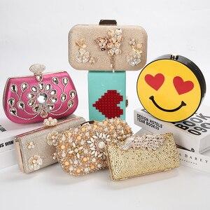 Image 2 - Lüks ay altın el çantası bayan el çantası düğün debriyaj kristal çanta lüks kadın çanta moda günlük cüzdan