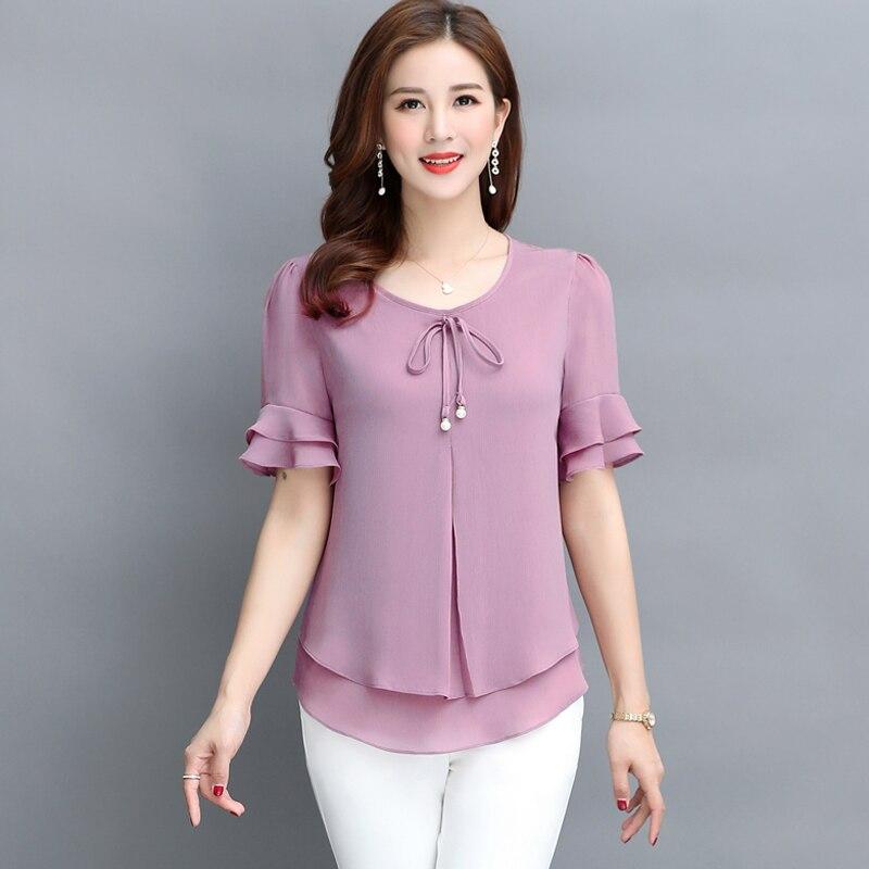 Ruffles Chiffon Women Blouse 2020 Summer New Solid O-neck Short-sleeved Loose Office Lady Elegant Oversized Pulls Tops