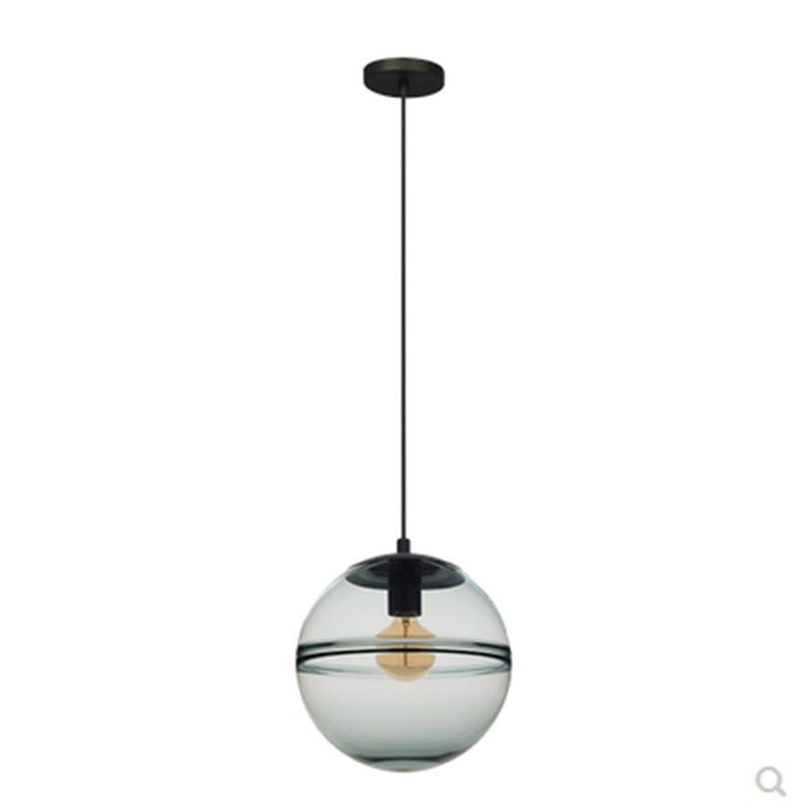Image 2 - postmodern Italian design blue glass globe pendant lights for villa bedroom coffee store lamp fashion suspended led luminaire-in Pendant Lights from Lights & Lighting