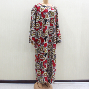 Image 3 - 2020 African Fashion Design New Arrival Red Print Cotton Material O Neck Long Sleeve Long Dess African Casual Dresses For Women