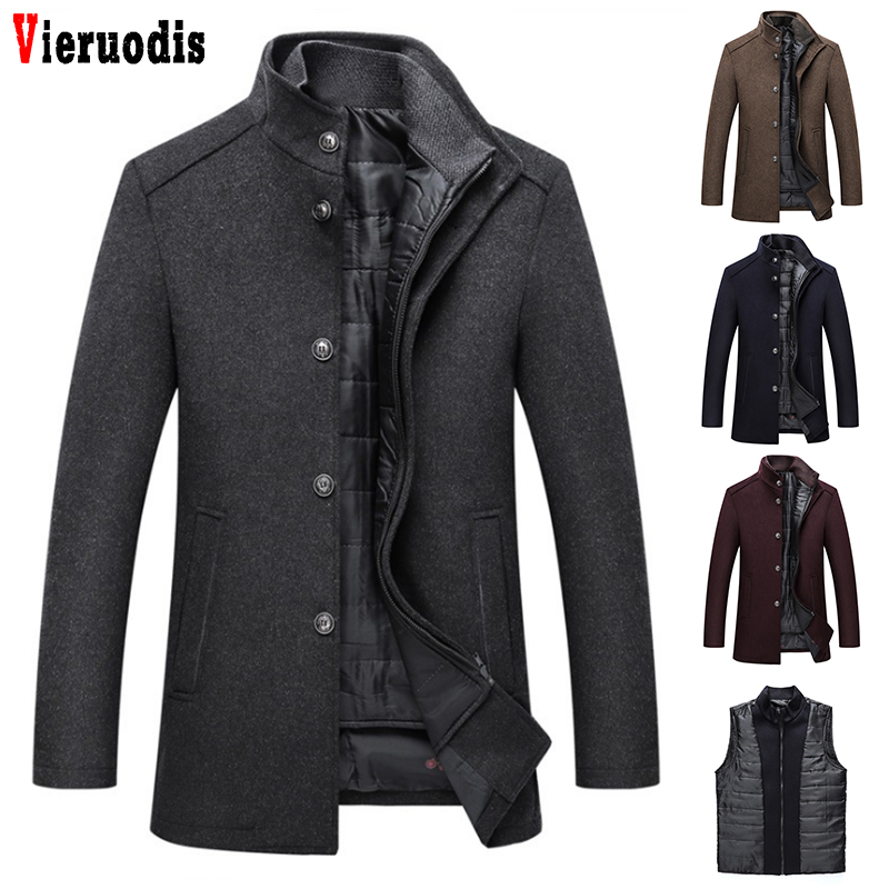 Mens Single Breasted Coats And Jackets With Adjustable Vest 4 Color Fashion Coats M-3XL New Winter Men Thick Wool Topcoat Coat