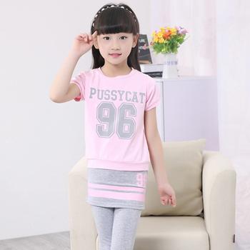Dziewczęce stroje sportowe Jogging letnie ubrania dla dzieci zestaw dziewczyny z krótkim rękawem Tshirt + legginsy Sweatsuit Little 2020 dres codzienny tanie i dobre opinie Pasuje prawda na wymiar weź swój normalny rozmiar Drukuj Oddychające K018 O-neck COTTON pink white black 4T 6T 8T 10T 12T 14T