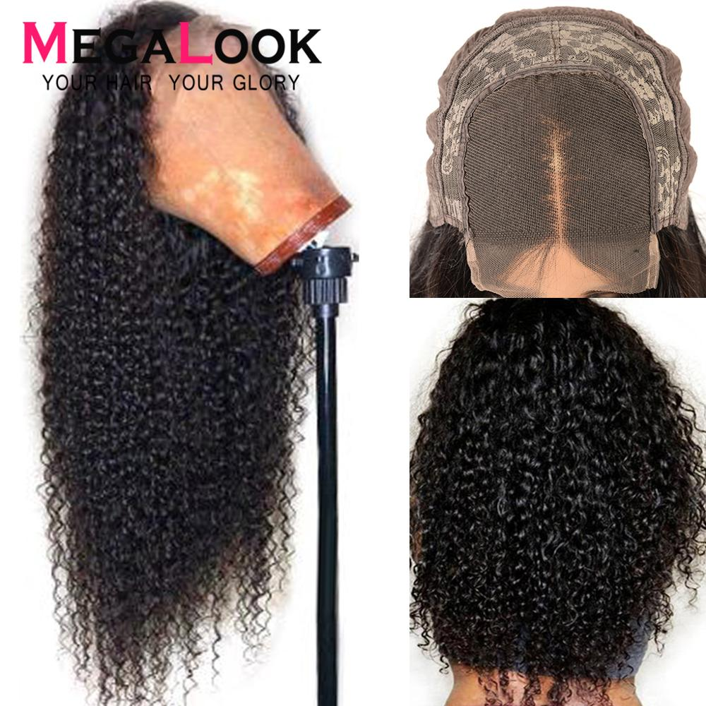 Afro Kinky Curly Wig Human Hair Wigs Lace Closure Wig 4x4 Natural Hair Brazilian Hair Wigs For Black Women Remy Megalook Hair