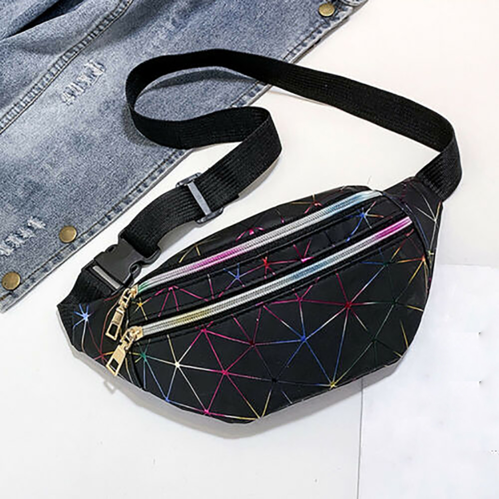 Unisex Small Zipper Closure Daily Patchwork Travel Shopping Waterproof Waist Packs Chest Bag Pouch Purse PU Leather Belt