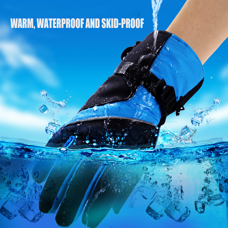 2019 New Men Women Windproof waterproof Warm Cycling Ski Snow Snowmobile snowboard Full Finger Mitten Adjustable ski gloves in Skiing Gloves from Sports Entertainment