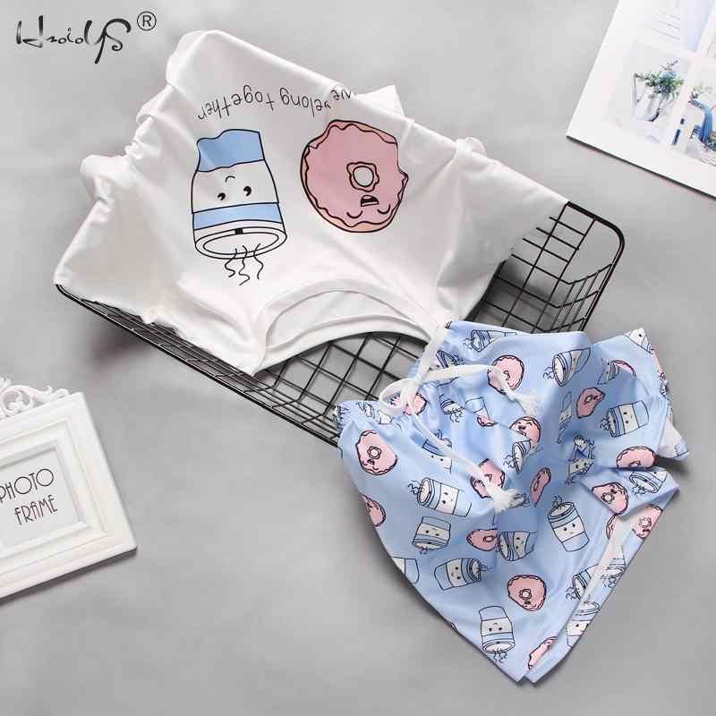 Pigiama da donna con stampa simpatico cartone animato Set corto pigiama da donna Set pigiama dolce manica corta T shirt e pantaloncini Pijama estivo