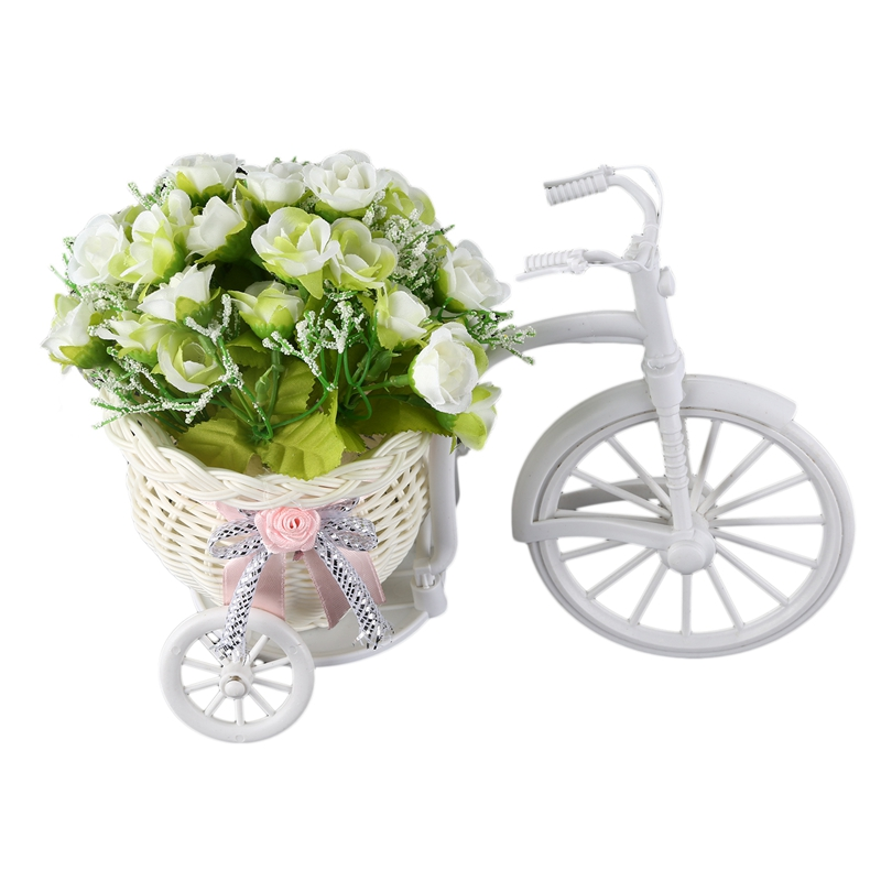 Nostalgic Bicycle Artificial Flower Decor Plant Stand (White+green)