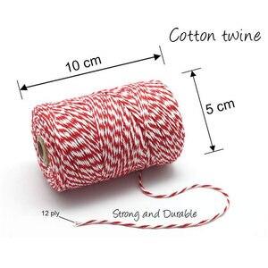 Image 5 - DIY Handmade nić bawełniana 1 rolka 100 metrów wysokiej jakości sznur czerwona biała karta wisząca lina prezenty pakowanie sznurka sznurek