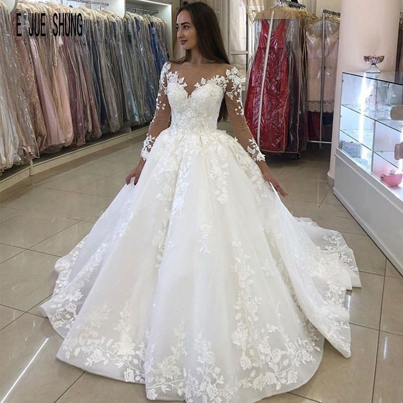 E JUE SHUNG Elegant Ball Gown Organza Wedding Dresses Scoop Neck Long Sleeves Lace Up Back Bride Bridal Gowns Vestido De Novia