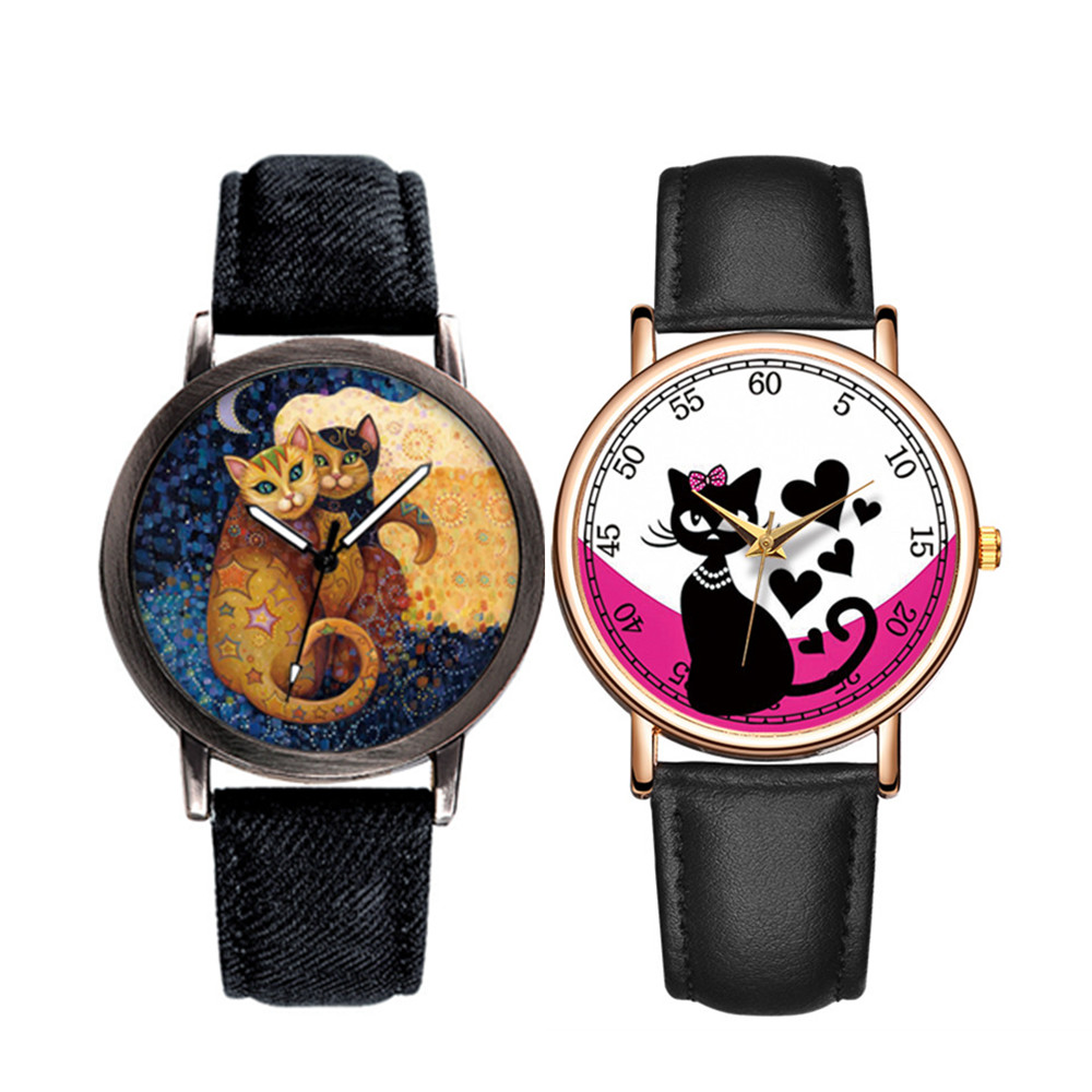 Creative Couple Watch Luxury Brand Quartz Wristwatches Cute Lover Cat Dial Women Watches Denim Band Girls Clock Relogio Feminino