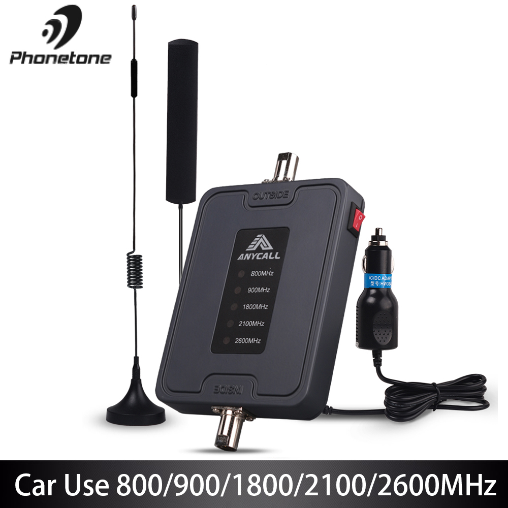 Mobile Cell Phone Signal Booster 800/900/1800/2100/2600MHz 2G 3G 4G LTE Amplifier For Car Use 5 Band 45dB Gain Cellular Repeater