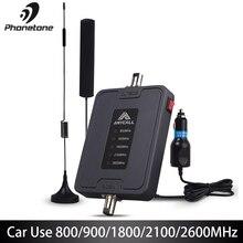 Téléphone Portable Amplificateur de Signal 800/900/1800/2100/2600MHz 2G 3G 4G LTE Amplificateur pour Voiture 5 Bande 45dB Gain Répéteur Cellulaire