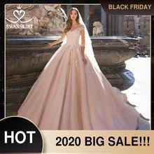 חתונה שמלה ורוד אפליקציות אונליין מתוקה תחרה עד Vestido דה Noiva 2020 חדש Swanskirt S120 אשליה מותאמת אישית כלה שמלה