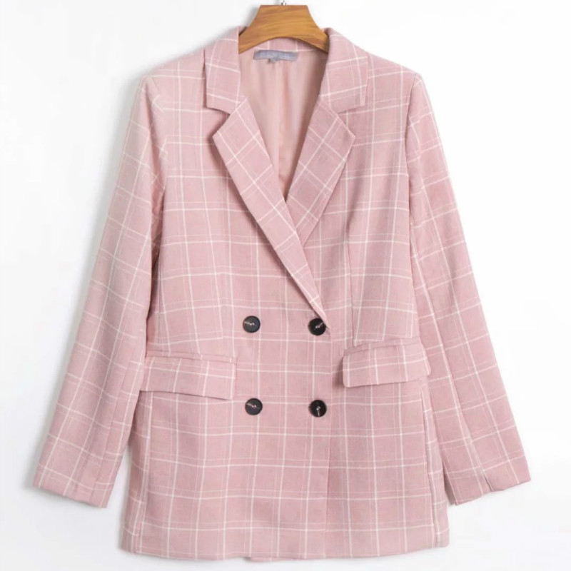 Women's Casual Pink Check Suit Jacket 2019 Autumn New Double-breasted Full-sleeve Children's Blazer Office Jacket Suit Female