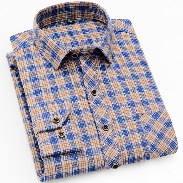 18 Colors 2019 Autumn Winter Warm Thick Mens Dress Shirt Casual Plaid Shirt Men  Brand Quality Cotton Social Business Shirt Men 30