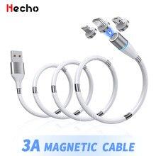 Cable de carga magnética 3A, Cable de carga rápida Micro USB tipo C, cargador de bobinado magnético portátil, Cable de datos de teléfono móvil