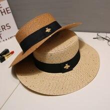 Шляпа женская Соломенная с блестками модный головной убор широкими
