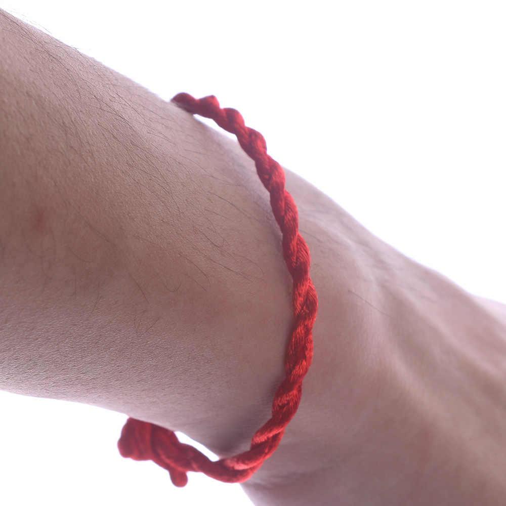 1 sztuk mężczyźni kobiety moda ręcznie pleciony czerwona linka bransoletka sznurkowa proste Style pary szczęście ciąg uroku bransoletki prezenty