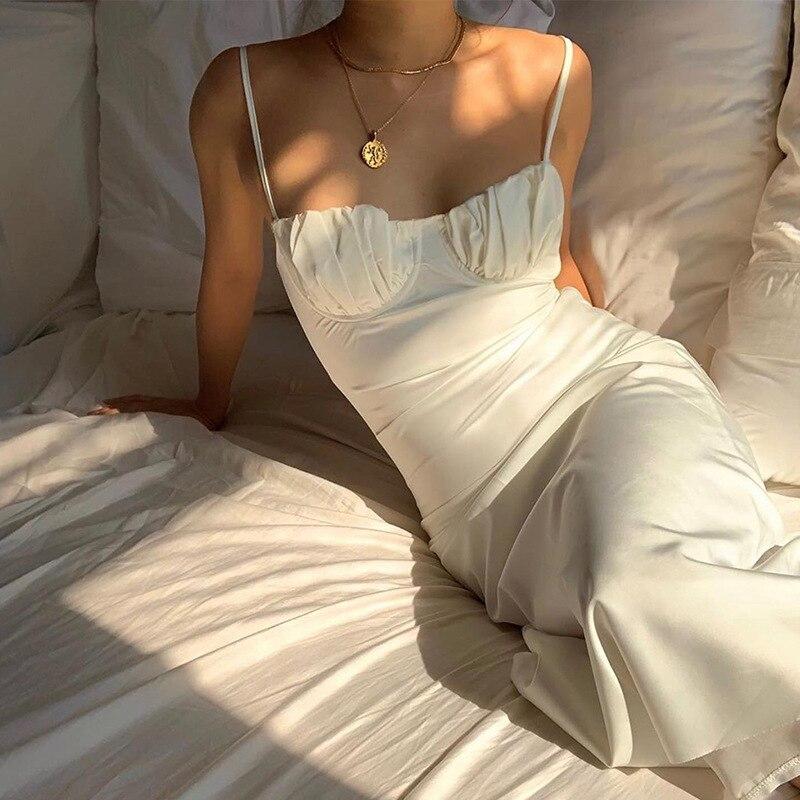 2021 Summer Vintage Women Midi Dress Sexy Backless Lace Up Long Party Ladies Dress Spaghetti Strap Elegant White Satin Dress 3
