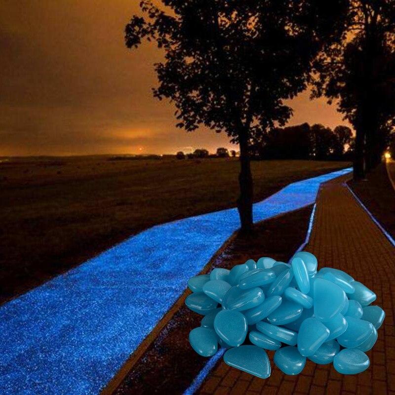 25/50pcs décor de jardin pierres lumineuses brillent dans lobscurité bricolage galets décoratifs en plein air Aquarium décoration galets roches Aquarium
