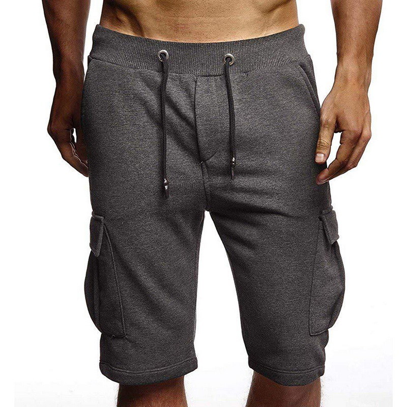 Oeak 2020 Men's Solid Color Shorts Fashion Summer Large Side Pocket Casual Elastic Drawstring Waist Breathable Soft Loose Shorts