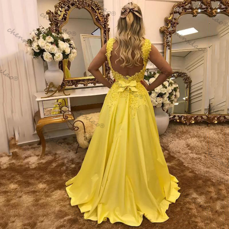 Bright Yellow Prom Dresses Appliques Pearls Sweetheart Sleeveless Backless Bow Party Gowns вечерние платья Veatido De Fiesta