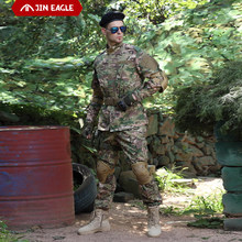 2 adet erkek askeri üniforma Jungle alman kamuflaj savaş Airsoft taktik ceket pantolon giyim seti ACU CP ordu takım elbise toptan