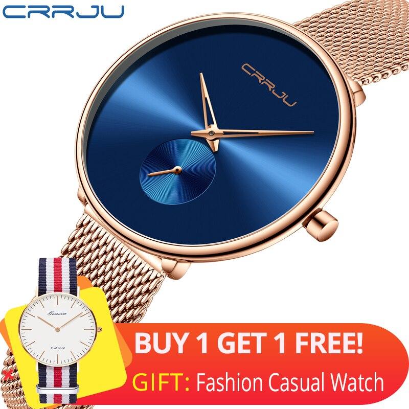 CRRJU 2165 Beautiful Design Watches Women Fashion Casual Steel Mesh Wristwatch Ladies Watch Female Clock Women's Quartz Watch