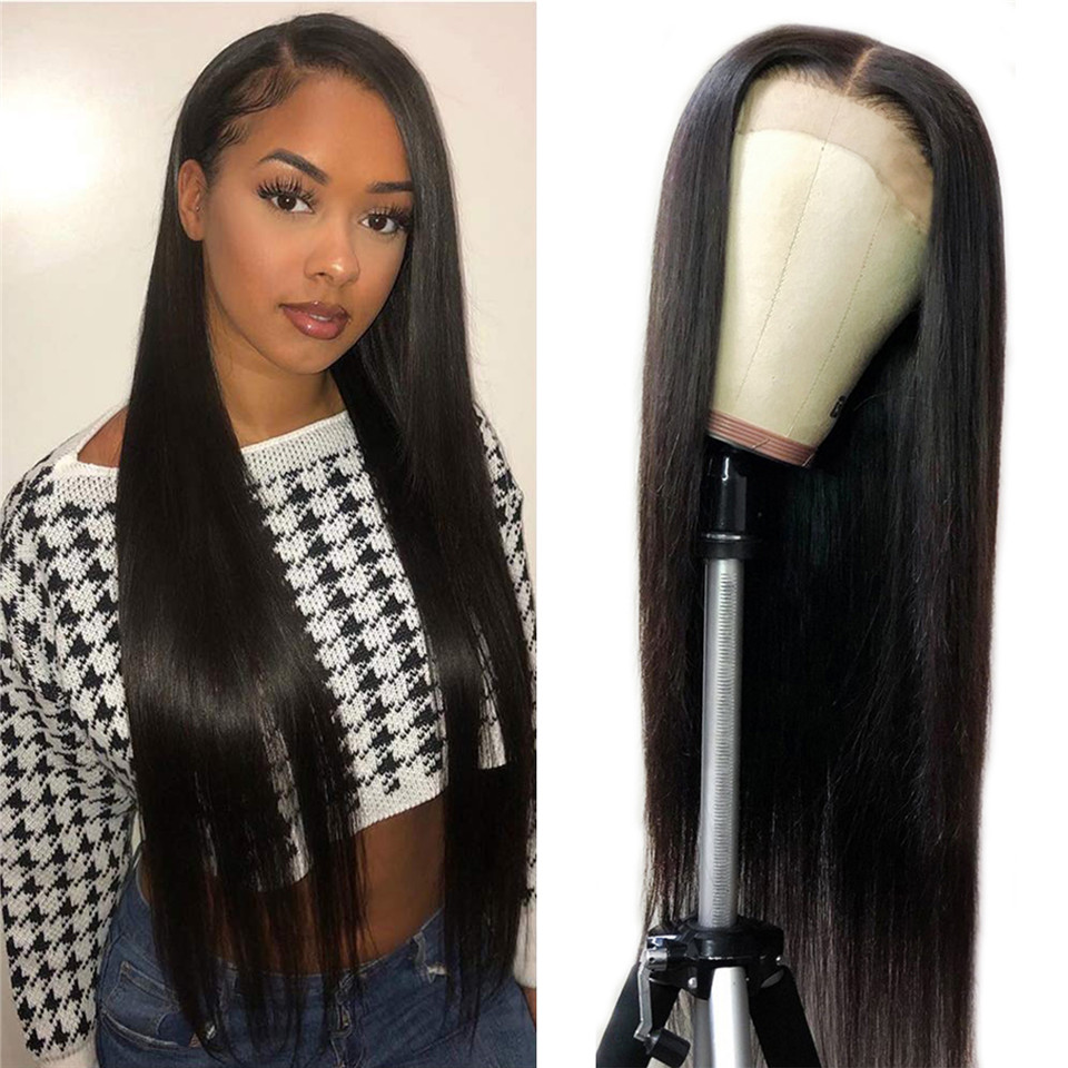 BUGUQI 4x4 Lace Closure Wigs Non-Remy Brazilian Human Hair Wigs Straight Human HairLace Frontal Wigs For Black Women Nature