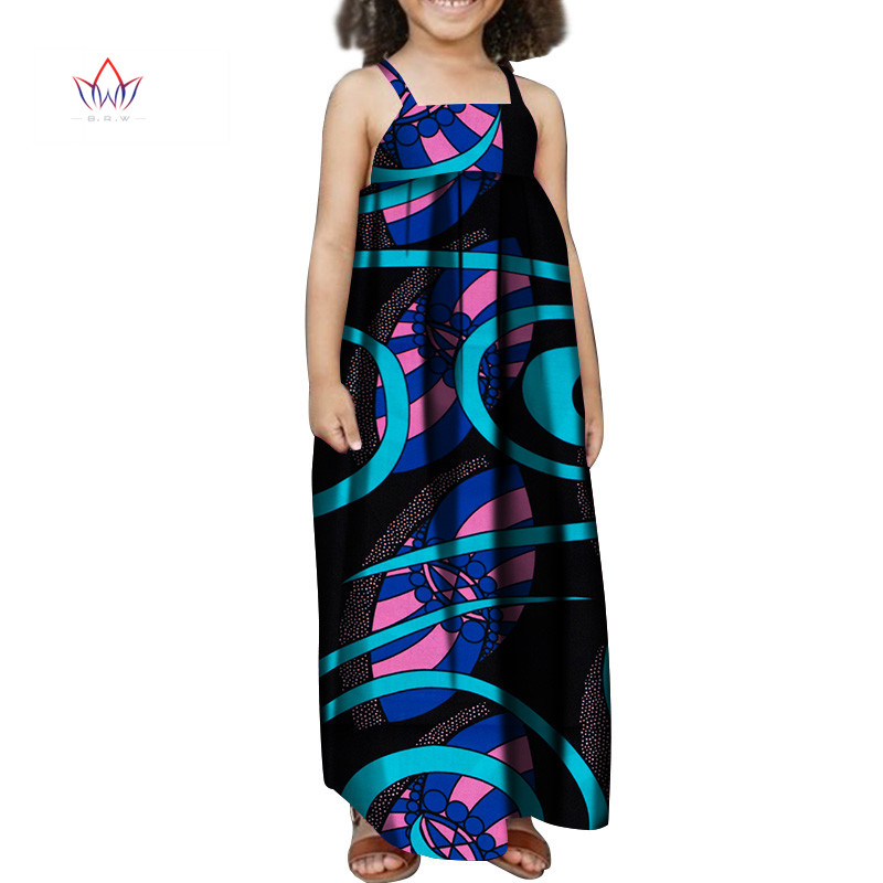 Child Clothes African Wax Print Dresses for Baby Girls Bazin Riche Plus Size Long Summer DressTraditional African Clothing YT324
