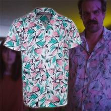 Stranger Dingen 3 Cosplay Jim Hopper Kostuum Sheriff Hopper T Shirt Korte Mouw Tee Tops Volwassen Jongens Mannen Carnaval Party Kostuum
