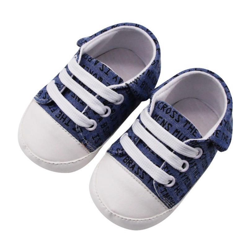 Newborn Baby Shoes First Walkers Kid Shoes Baby Girls Boys Funny Letter Print Solid Soft Sole Casual Shoes