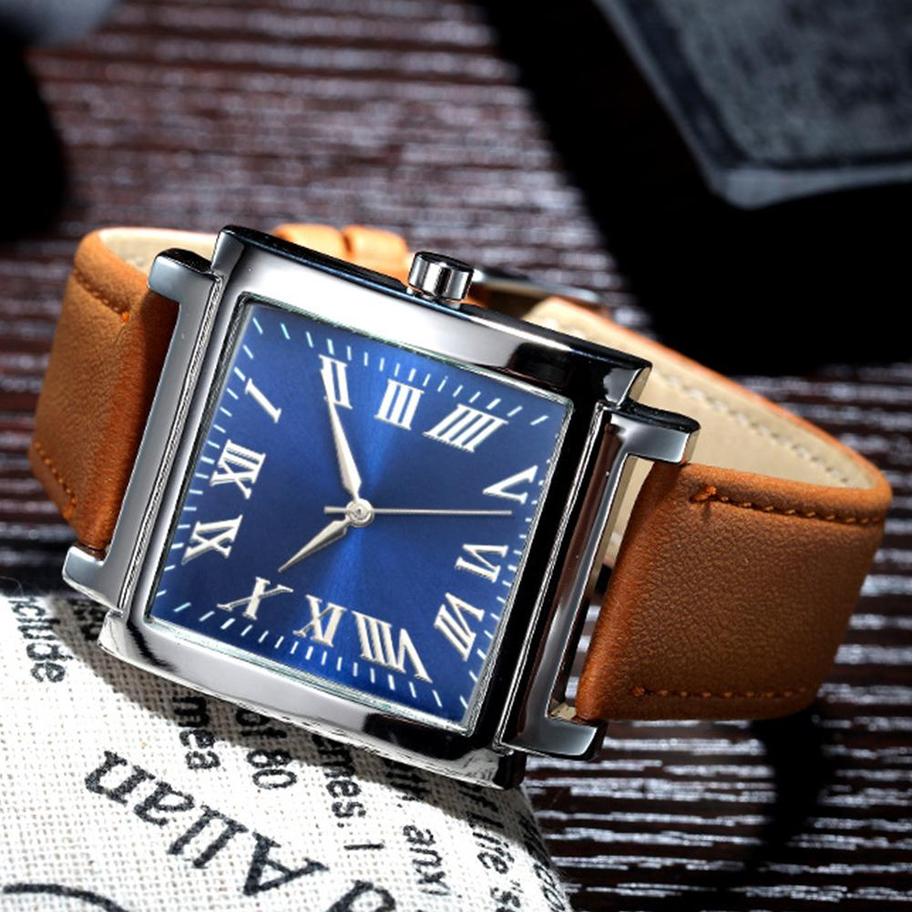 Fashion Men Square Dial Roman Numeral Faux Leather Strap Analog Quartz Watch