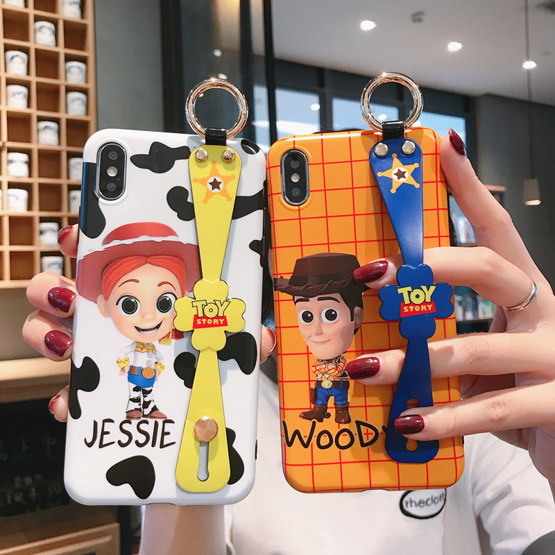 JAMULAR Cartoon <font><b>Toy</b></font> <font><b>Story</b></font> Strap Stand Phone Case For <font><b>iPhone</b></font> X XS MAX XR 7 8 <font><b>6</b></font> 6s Plus Woody Glossy Soft IMD Back Cover <font><b>Funda</b></font> Bag image