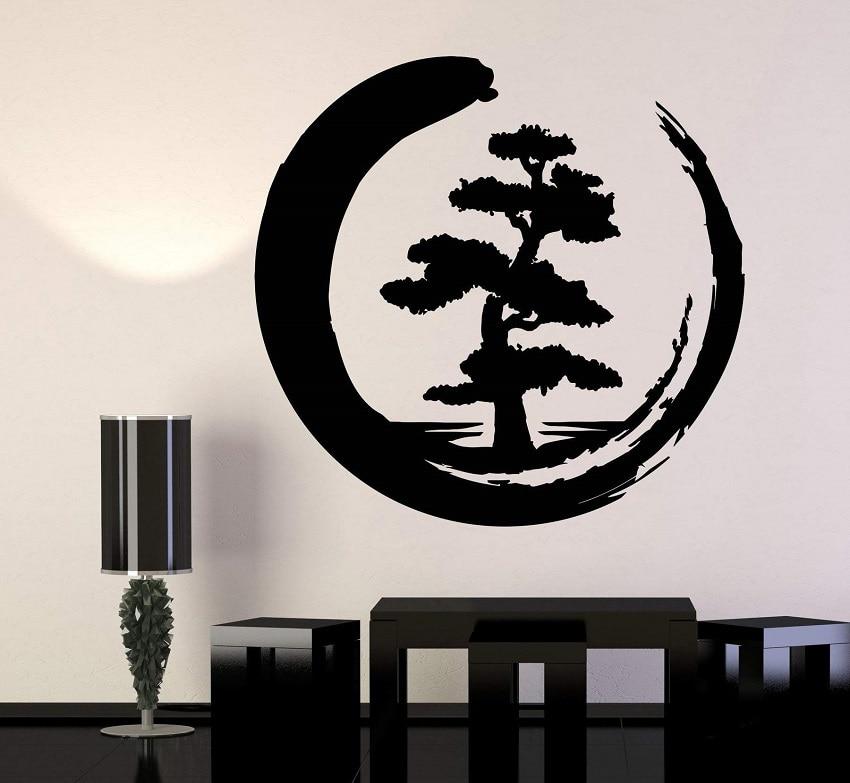 Vinyl wall sticker indoor yoga studio art decal wallpaper flower enso tree of life zen circle buddhism yoga wall sticker GXL21