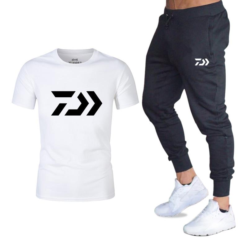 Tracksuit Male 2020 Men Clothing Sportswear Set Fitness Summer Print Men Trousers + T Shirt Men's Suit 2 Pieces Sets Plus Size