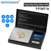 Minibáscula electrónica digital de bolsillo para joyas de plata de ley y oro, 100g, 200g, 300g, 500g, 1kg, 0,01g, 0,1g